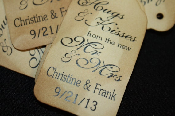 "SCRIPT Personalized Hugs and Kisses from the Mr and Mrs Favor Tags SMALL size 2"" CHOOSE your Quantity"