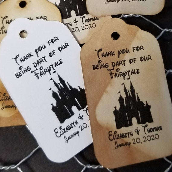 """Thank You for Being Part of our Fairytale (my LARGE) 1 3/4"""" x 3 1/4"""" Personalized Wedding Favor Tag fairy tale wedding, Cinderella castle"""