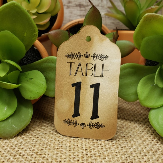 "Table Number Tags Seat Placement Cards (my Medium Tag) 1 3/8"" x 2 1/2"""