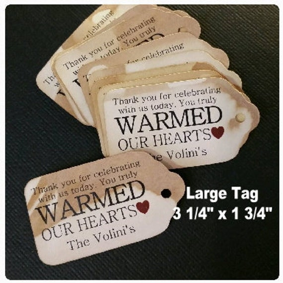 Thank you For Celebrating With Us (my LARGE) 3 1/4 x 1 3/4 Tags Personalized Warmed Our Hearts