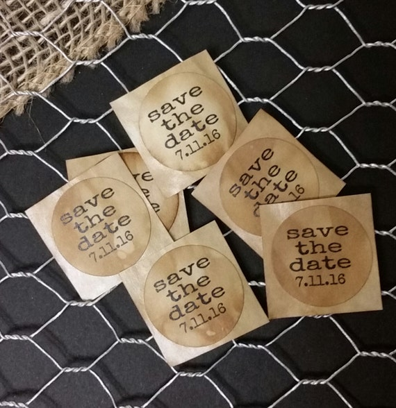 """Save the Date Sticker 1"""" STICKER Personalized Wedding Engagement Shower Favor STICKER choose your amount"""