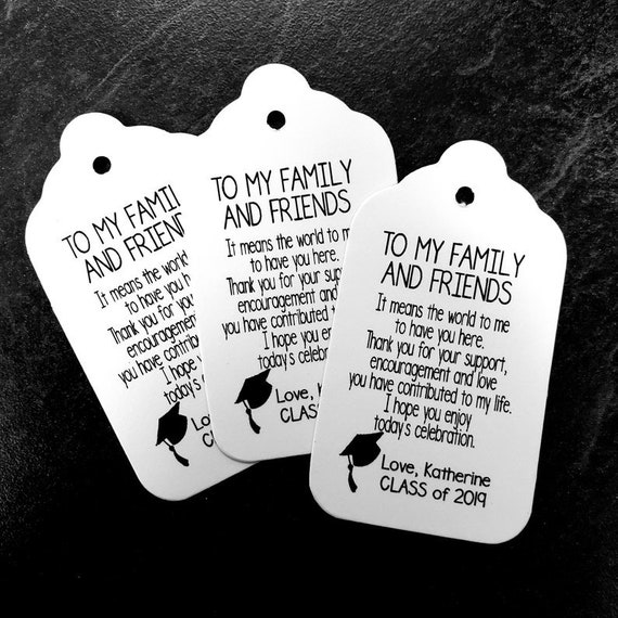 "To My Family and Friends (my LARGE tag) 1 3/4"" x 3 1/4"" Personalized Graduation class of Favor Tag CHOOSE your amount"
