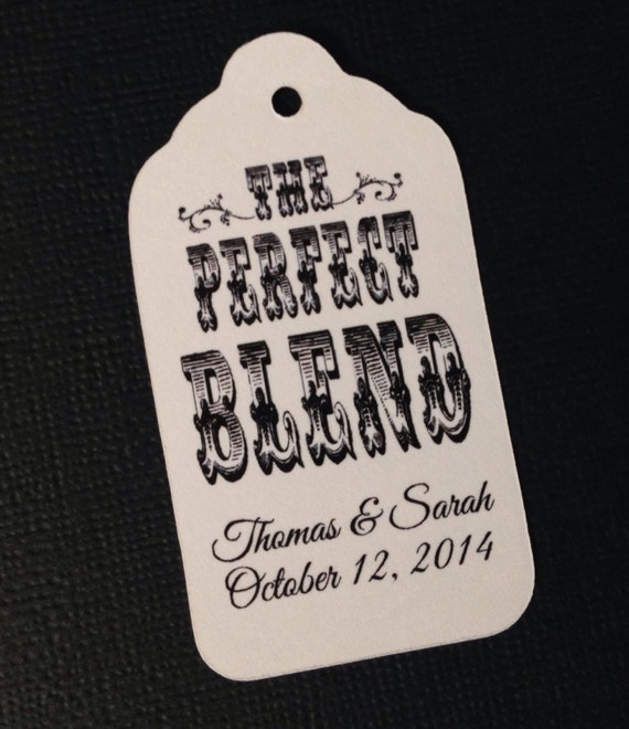 100 Perfect Blend MEDIUM Personalized Wedding Favor tags