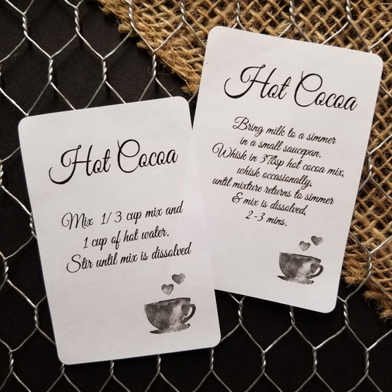 """120 Hot Cocoa Directions 2"""" x 3""""  STICKER"""