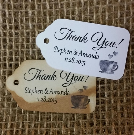 "Thank You COFFEE TEA Party favor tag Choose your quantity SMALL 2"" Favor Tag"