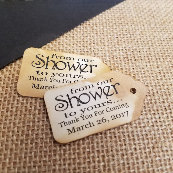 "From OUR Shower to Yours Choose your quantity SMALL 2"" Favor Tag"