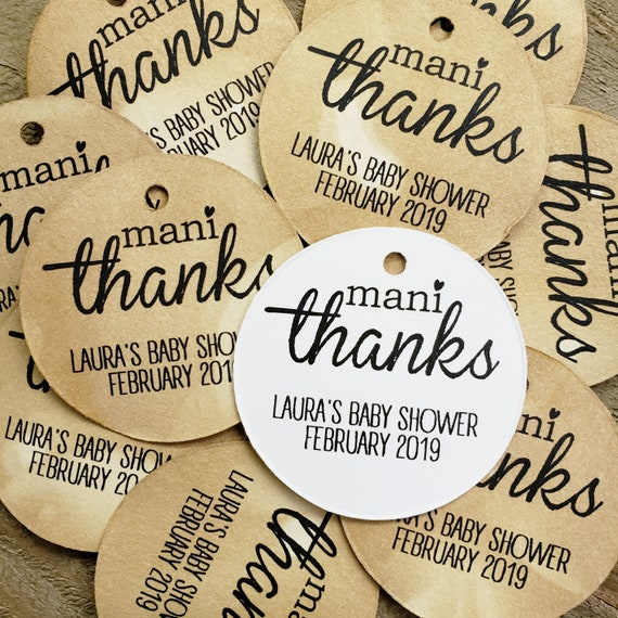 Mani Thanks Personalized  1.5inch ROUND tag choose your amount Shower Birthday Favor tag card