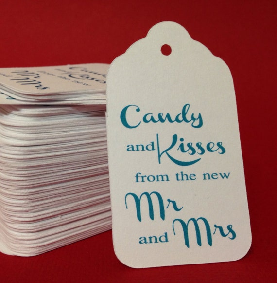 50 Candy and Kisses from the new Mr and Mrs Wedding Favor Tags