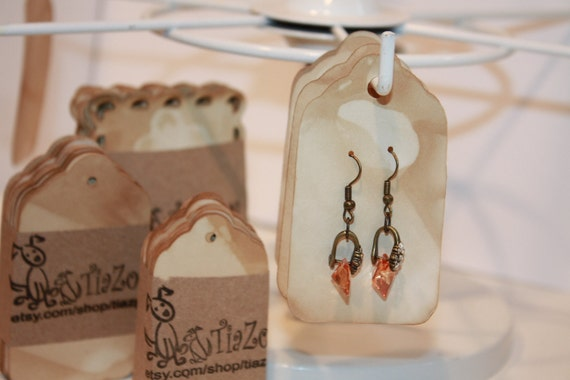 50 Earring Display Cards (my LARGE 1 3/4 x 3 1/4) Tea Stained Merchandise hang tag TiaZoey Earring cards, jewelry display tags