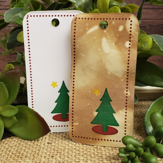 "Christmas Tree RECTANGLE 1.5"" x 3"" Merry Christmas Happy Holiday Favor Tag Non-personalized"