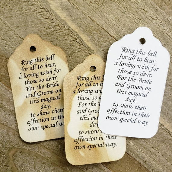 "Ring this Bell For All To Hear NON-Personalized Wedding Favor (my MEDIUM tag) 1 3/8"" x 2 1/2"" choose your amount"