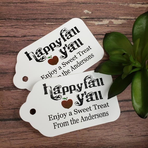 """Happy fall YAll favor tag (my LARGE Tag) 1 3/4"""" x 3 1/4"""" Choose your Quantity"""
