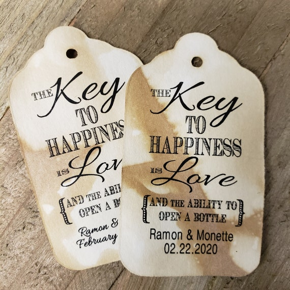 """Key to Happiness is Love Bottle opener favor tag (my MEDIUM Tag) 1 3/8"""" x 2 1/2"""" Personalize with names and date Choose your Quantity MEDIUM"""