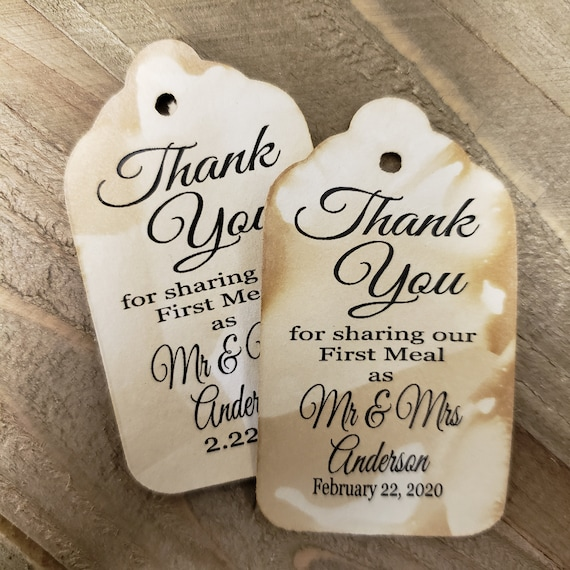"Thank you for Sharing our First Meal as Mr and Mrs (my MEDIUM tag) 1 3/8"" x 2 1/2"" Personalized Wedding Favor Tag  choose your amount"