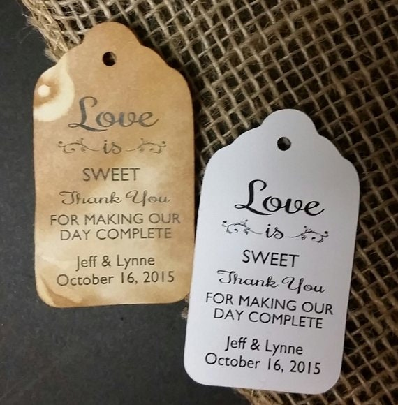 "Love is Sweet Thank You for Making Our Day Complete (my SMALL tag) 1 1/8"" x 2"" Personalized Wedding Favor Tag Card Choose your quantity"