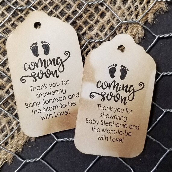 "Coming Soon Thank you for showering Choose your quantity (my SMALL tag) 2"" x 1 1/8"" Favor Tag baby, mom to be, mom-to-be"
