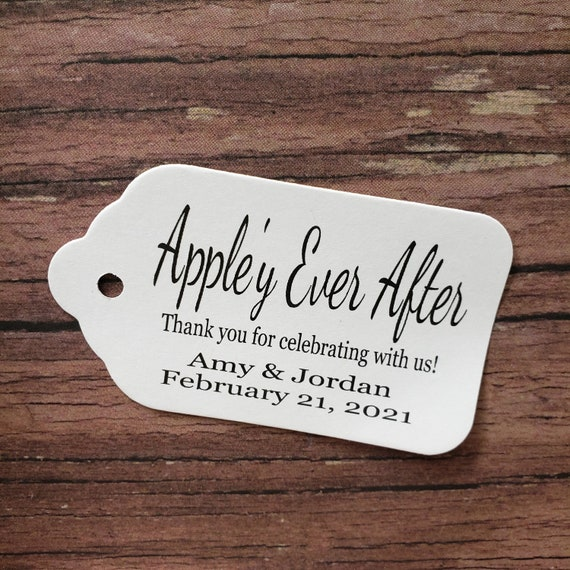 """Appley Ever After (my MEDIUM souvenir tag) 1 3/8"""" x 2 1/2"""" Favor Tag Choose your quantity Happily ever after"""