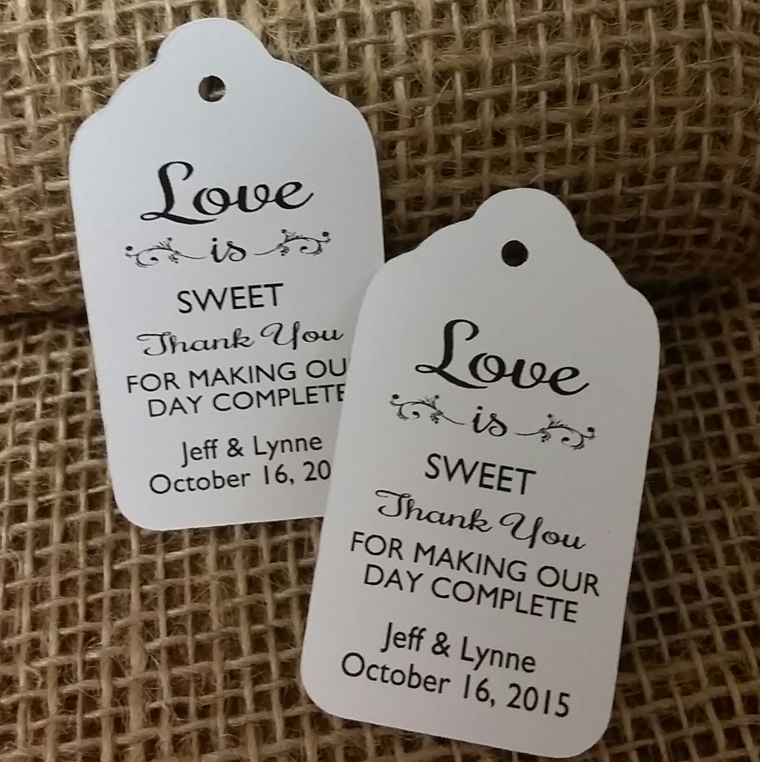 Personalised Wedding Tags Love Is Sweet Thank You For Making Our Day