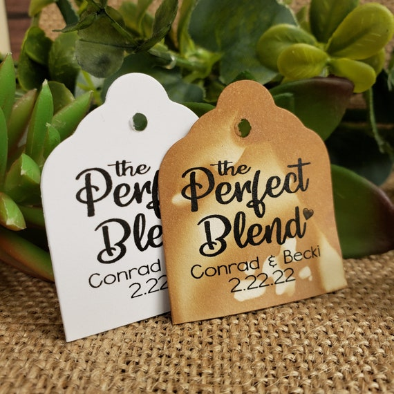 """Perfect Blend favor tag  1 3/8"""" x 1 5/8"""" Tags Personalize with names and date Choose your Quantity"""