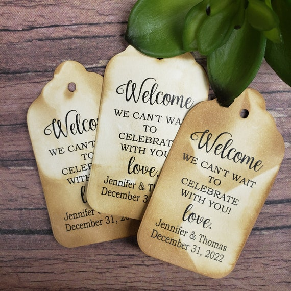 "Welcome We Can't wait to Celebrate with you (my MEDIUM tag)  1 3/8"" x 2 1/2"" Tags Personanlized keepsake souvenir party favor"