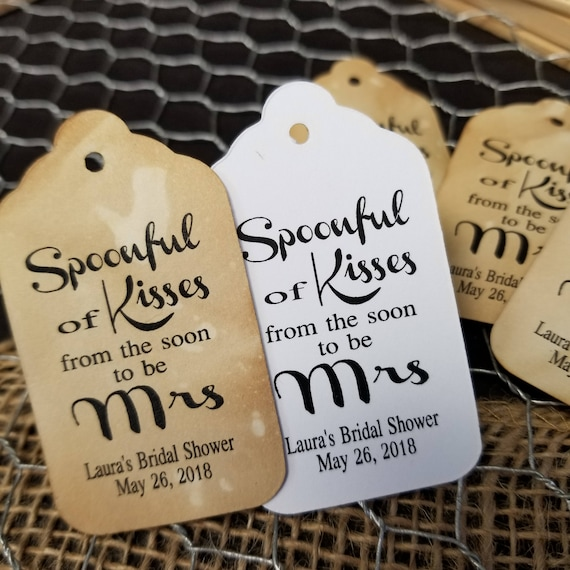 """Spoonful of Kisses from the SOON to Be Mrs (my MEDIUM tag) 1 3/8"""" x 2 1/2"""" Personalized Wedding shower Favor Tag"""