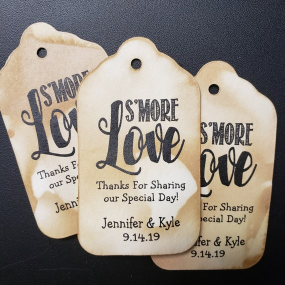 """Smore Love Thanks for Sharing our Special Day (myMEDIUM) 1 3/8"""" x 2 1/2"""" Personalized Wedding Favor Tag choose your amount, S'more Love"""