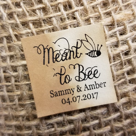"""Meant to Bee 1"""" square STICKER Personalized Wedding Engagement Shower Favor STICKER choose your amount"""