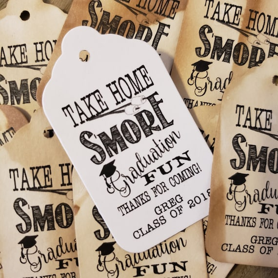 "Take Home Smore GRADUATION Fun Thanks for coming (my MEDIUM tag) 1 3/8"" x 2 1/2"" Personalized Graduation class of Thank You Favor Tag"