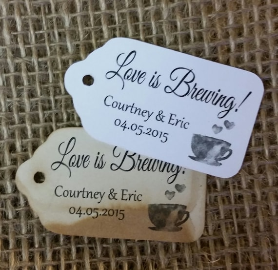 "Love is Brewing Choose your quantity (my SMALL tag) 1 1/8"" x 2"" Favor Tag souvenir tag"