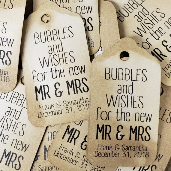 Bubbles and Wishes for the new Mr and Mrs EXTRA SMALL 7/8 x 1 5/8 Wedding Bubble Favor Tag