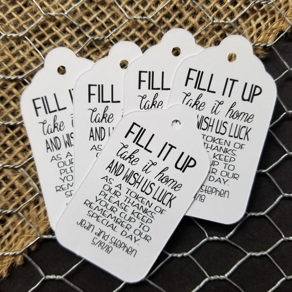 Fill it up and Wish us luck MEDIUM Personalized Wedding Favor Tag  choose your amount here is your glass for the night, write your name