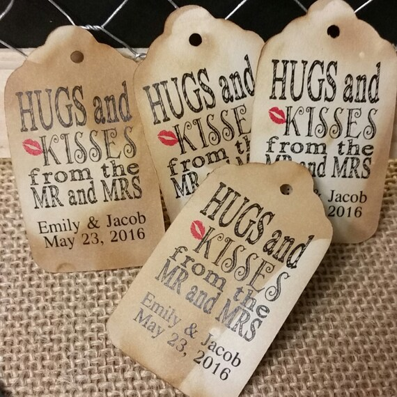 "Hugs and Kisses from the Mr and Mrs (my SMALL tag 1 1/8"" x 2"") CHOOSE your Quantity, wedding, shower favor tags, hang tag, wedding tag, card"