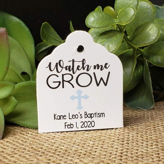 "Watch Me Grow favor tag  1 3/8"" x 1 5/8"" Tags Personalize with names and date Choose your Quantity"