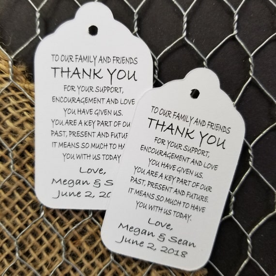 To Our Family and Friends Thank You MEDIUM Personalized Wedding Favor Tag  choose your amount
