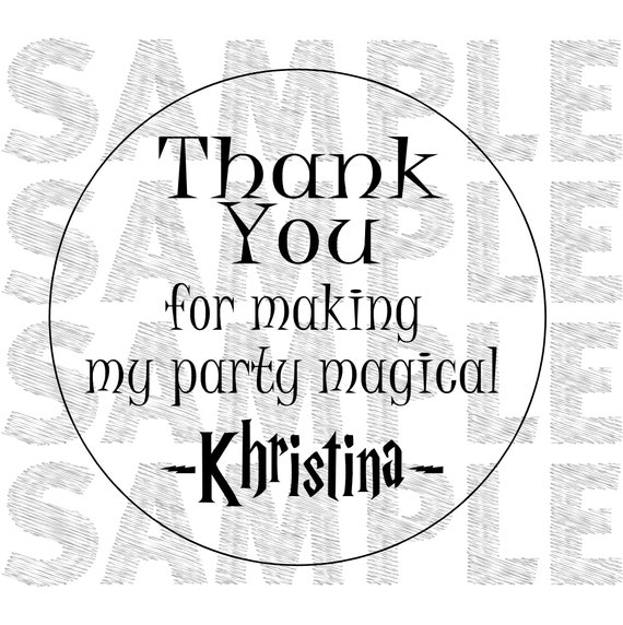 """Thank You for Making my Party Magical 2"""" STICKER Personalized Party Shower Favor STICKER choose your amount"""