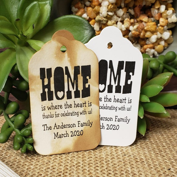 """Home is where the heart is (my MEDIUM tag) 1 3/8"""" x 2 1/2"""" Personalized housewarming souvenir Favor Tag choose your amount"""
