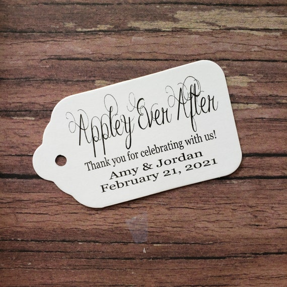 """Appley Ever After (my SMALL tag) 1 1/8"""" x  2"""" Favor Tag wedding souvenir Choose your quantity Happily ever after"""