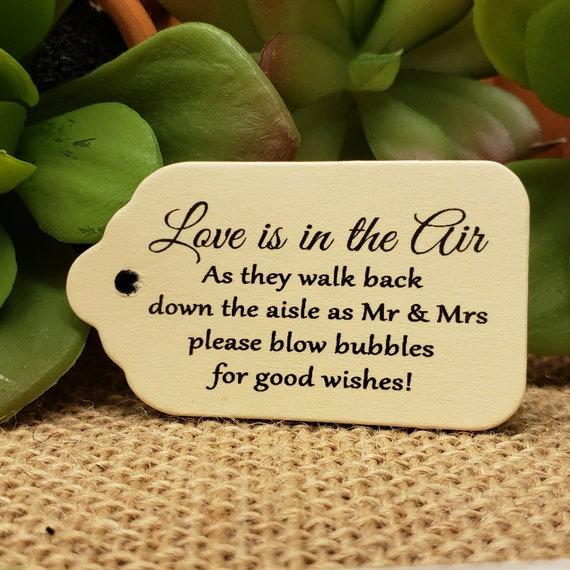 """Love is in the Air BUBBLES of Good Wishes Choose your quantity SCRIPT font SMALL 2"""" Favor Tag"""