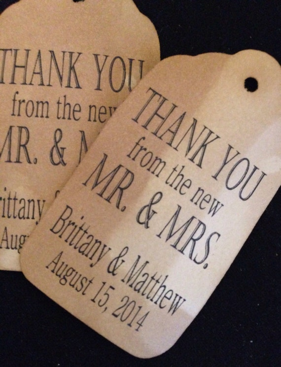 Thank You from the New Mr and Mrs 100 Personalized Wedding Favor Tags
