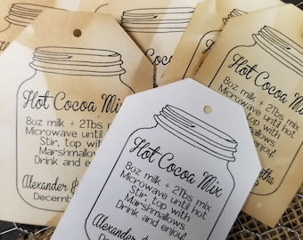 Hot Cocoa Mix Favor Tags Personalize with names and date Choose your Quantity NEW TAG SHAPE
