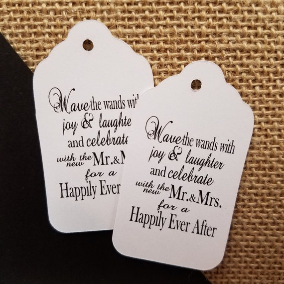 Wave the Wands with Joy and Laughter MR and MRS wedding favor tag CHOOSE your quantity