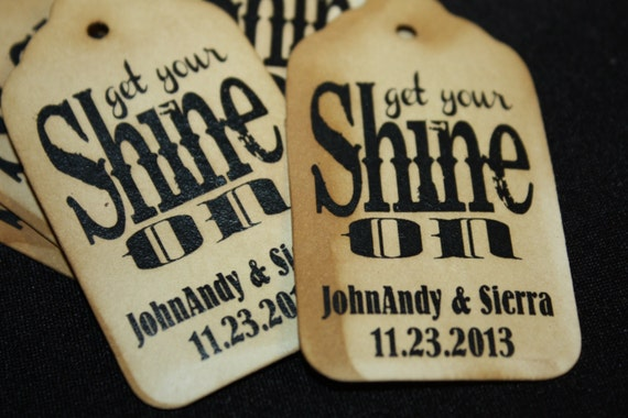 """Get your Shine on SMALL 2"""" Favor Tag alcohol sparkle tags"""