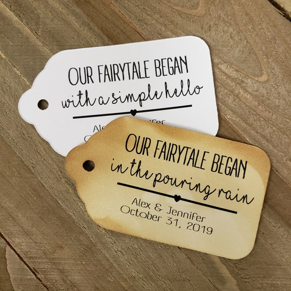 "Our Fairytale Began (my LARGE tag) 1 3/4"" x 3 1/4"" it all began, our story, Favor tag, Favor Card"