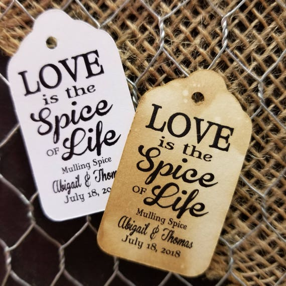 "Love is the Spice of Life SMALL 2"" Personalized Favor Tags Thank you Favor Click the Drop Down for QUANTITY CHOICES"