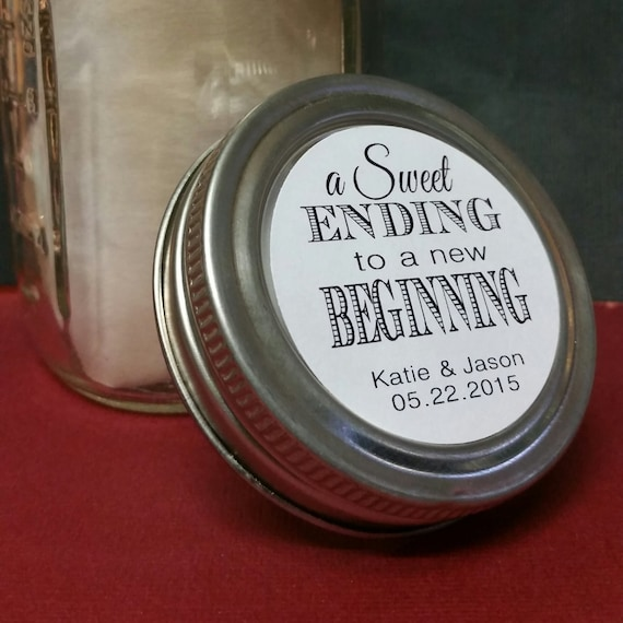 """2"""" STICKER Sweet Ending to a new Beginning Personalized Wedding Shower Favor STICKER choose your amount sold in sets of 20 STICKERS"""