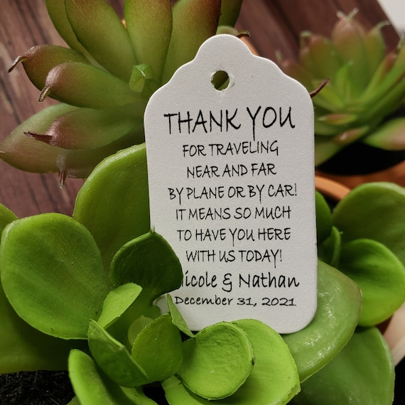"Thank you for traveling near and far (my SMALL tag) 1 1/8"" x 2"" Choose your quantity Favor Tag"