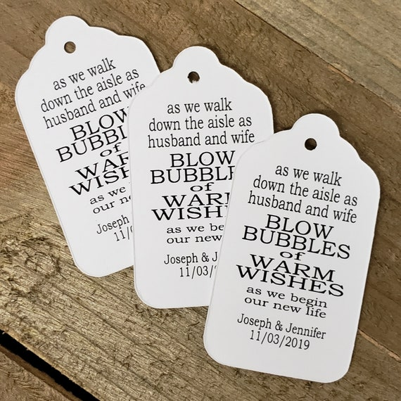 As We Walk down the aisle as Husband and Wife Blow Bubbles of Warm Wishes MEDIUM Personalized Wedding Favor Tag  choose your amount