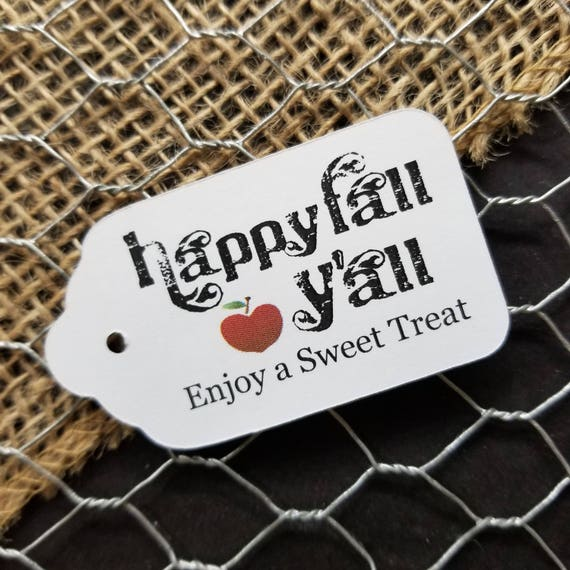 Happy Fall Y'all MEDIUM Favor Tag Choose your quantity Happily ever after