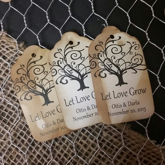 """Let Love Grow Favor Tags CHOOSE your Quantity SMALL 2"""""""