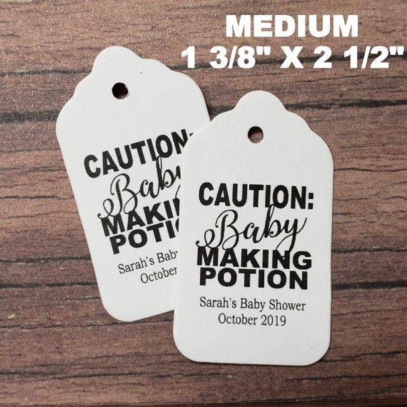 "Caution Baby Making Potion favor tag MEDIUM Tags Personalize (my MEDIUM tag) 1 3/8"" x 2 1/2"" Baby Shower"